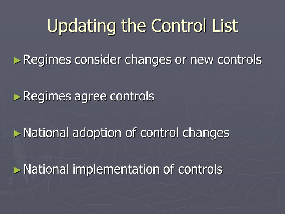 Updating the Control List