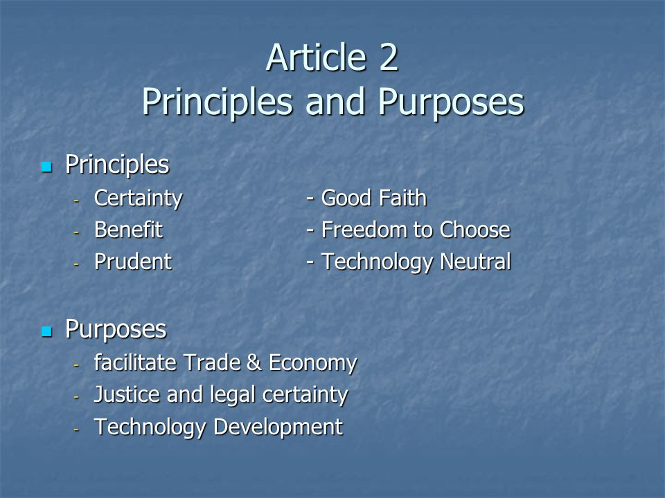 Article 2 Principles and Purposes