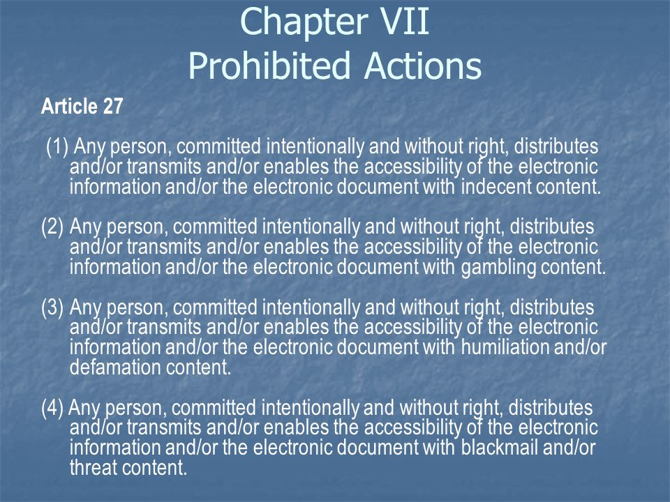 Chapter VII Prohibited Actions