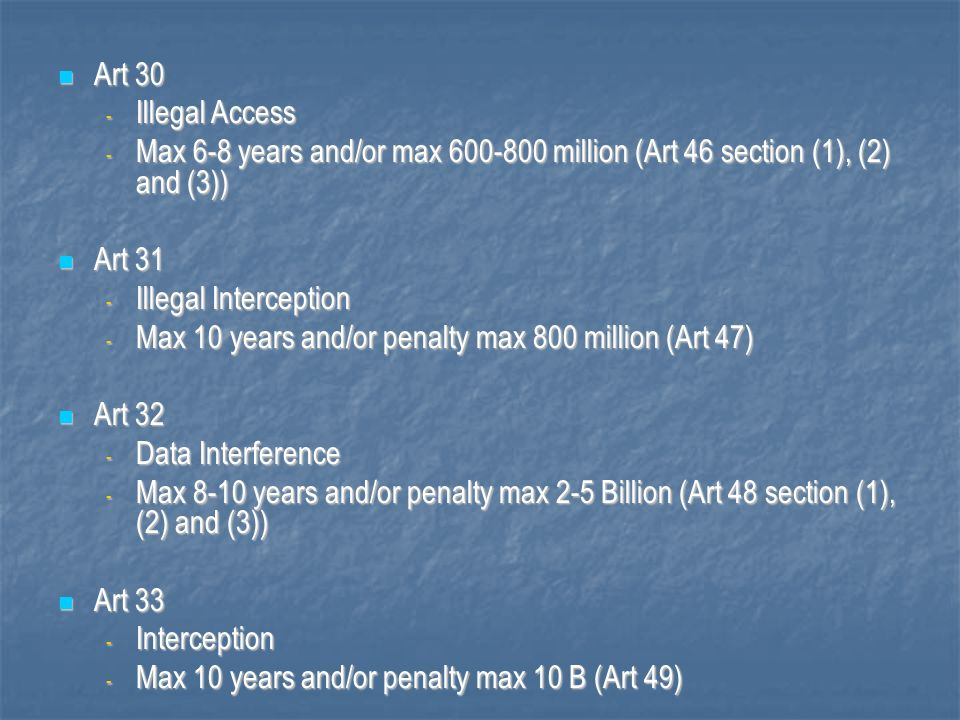 Max 10 years and/or penalty max 800 million (Art 47) Art 32