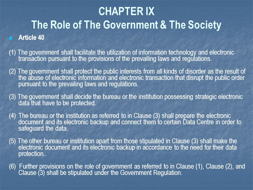 CHAPTER IX The Role of The Government & The Society