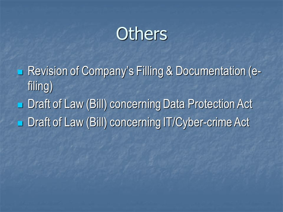 Others Revision of Company's Filling & Documentation (e-filing)