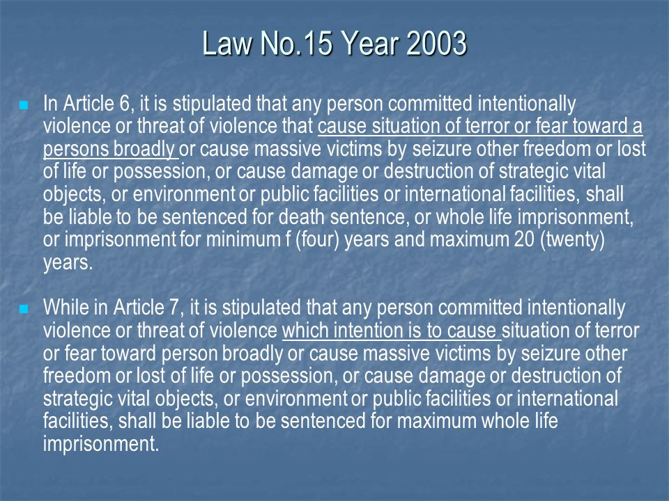Law No.15 Year 2003