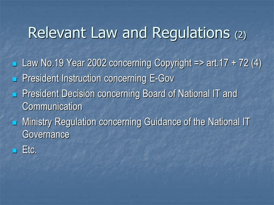 Relevant Law and Regulations (2)