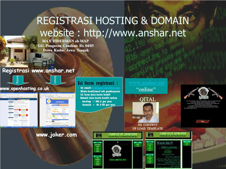 REGISTRASI HOSTING & DOMAIN website :