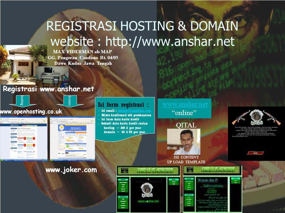 REGISTRASI HOSTING & DOMAIN website : http://www.anshar.net