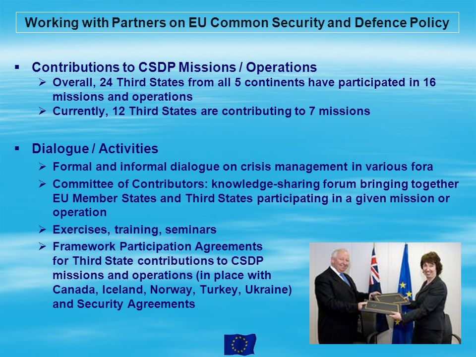 Working with Partners on EU Common Security and Defence Policy