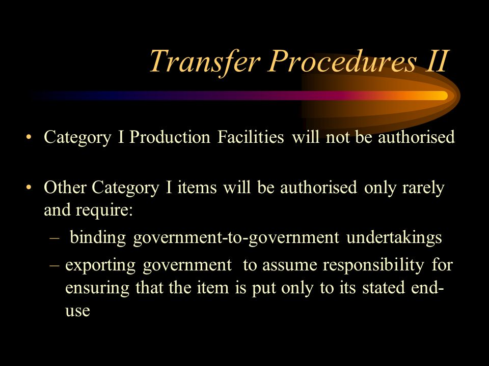 Transfer Procedures II