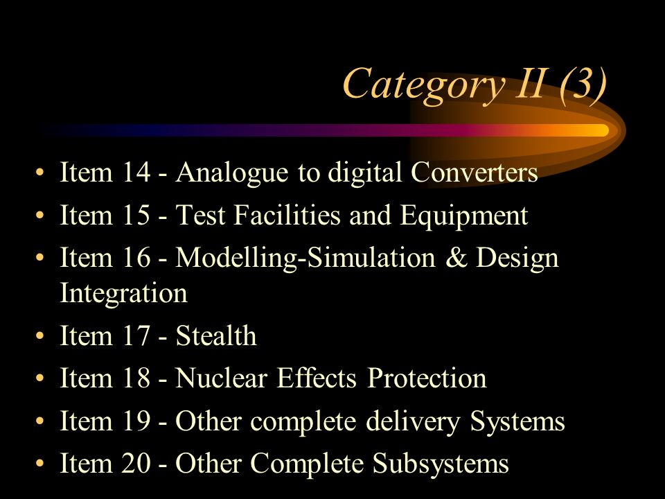 Category II (3) Item 14 - Analogue to digital Converters