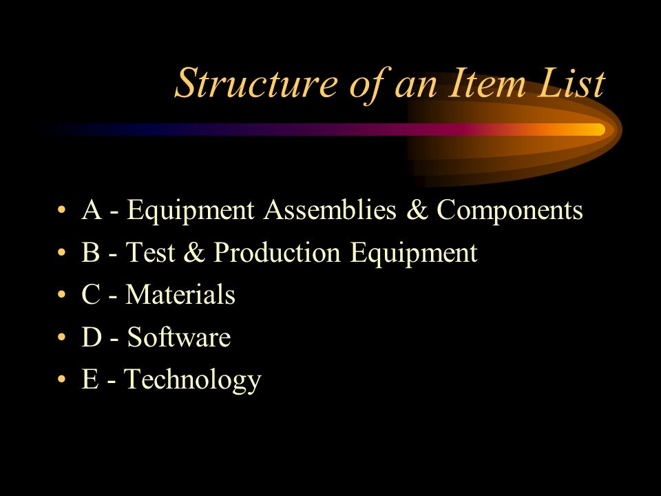 Structure of an Item List