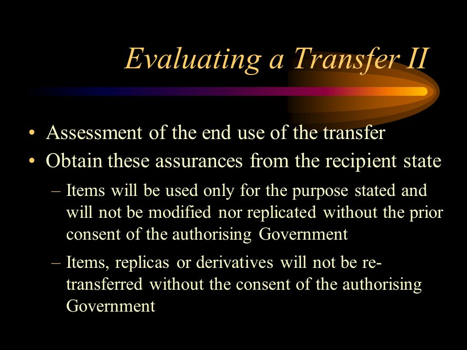 Evaluating a Transfer II
