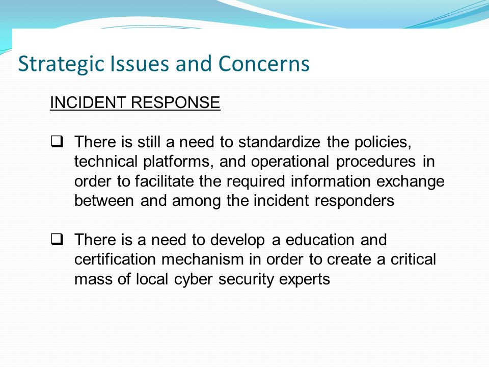 Strategic Issues and Concerns