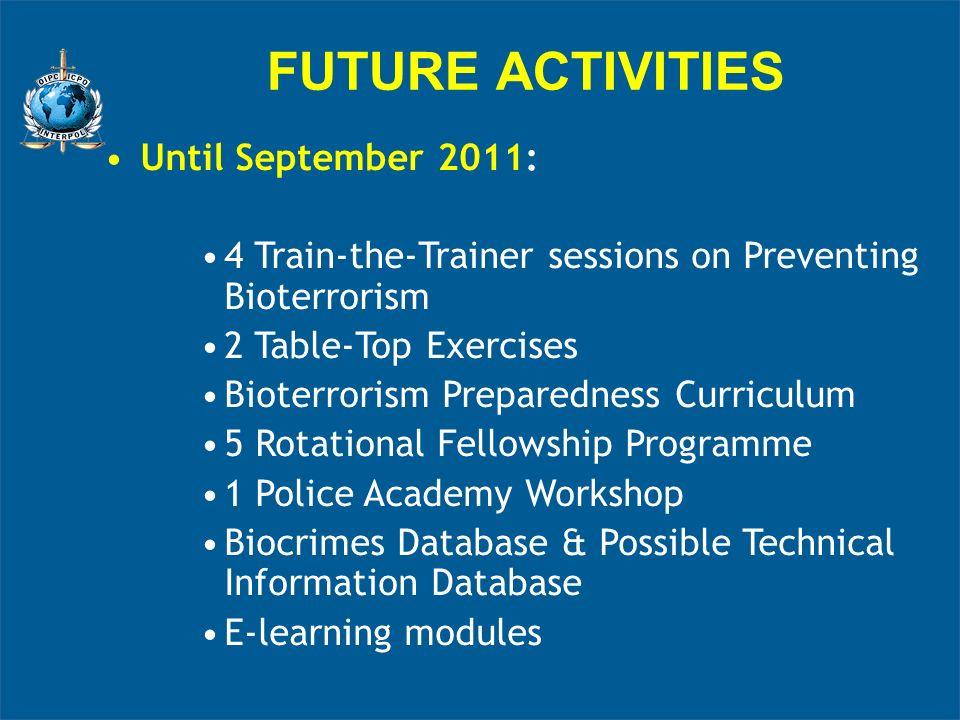 FUTURE ACTIVITIES Until September 2011: