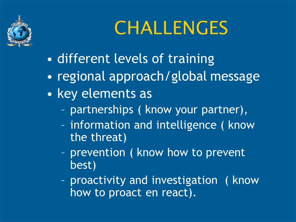 CHALLENGES different levels of training