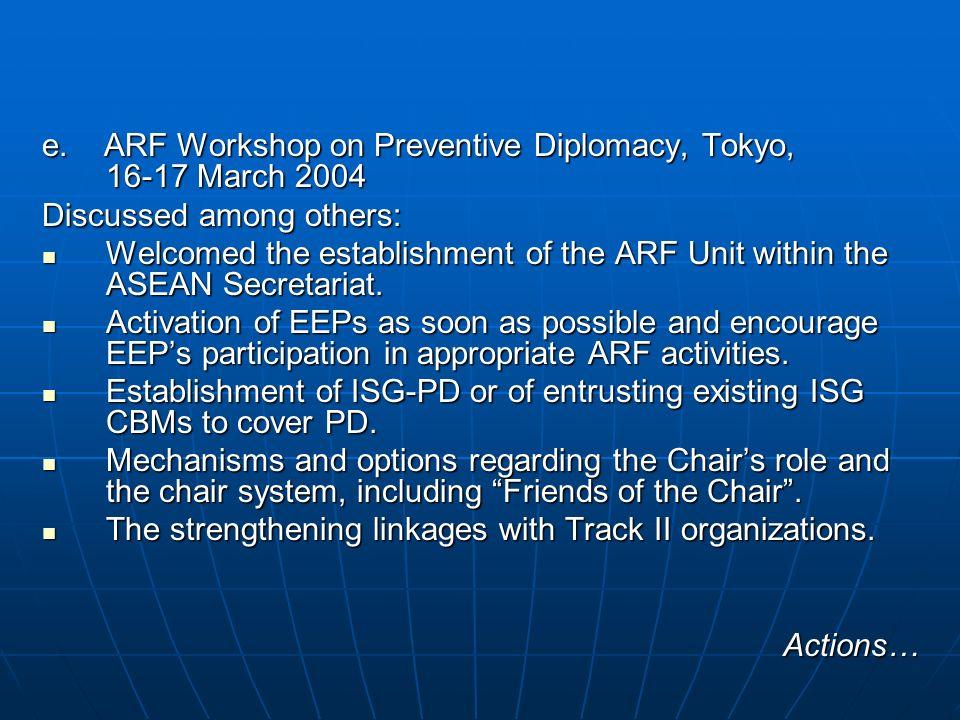 e. ARF Workshop on Preventive Diplomacy, Tokyo, 16-17 March 2004