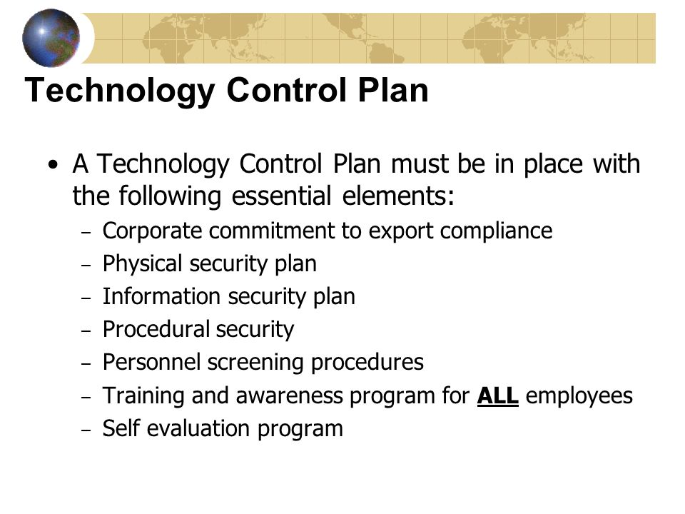 Technology Control Plan