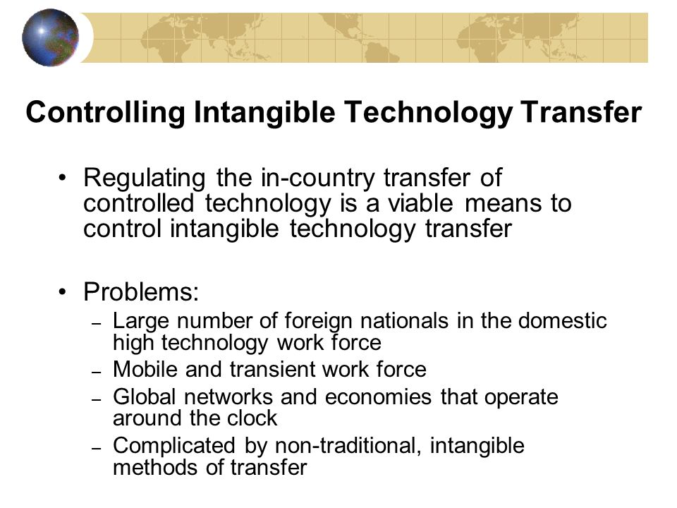 Controlling Intangible Technology Transfer