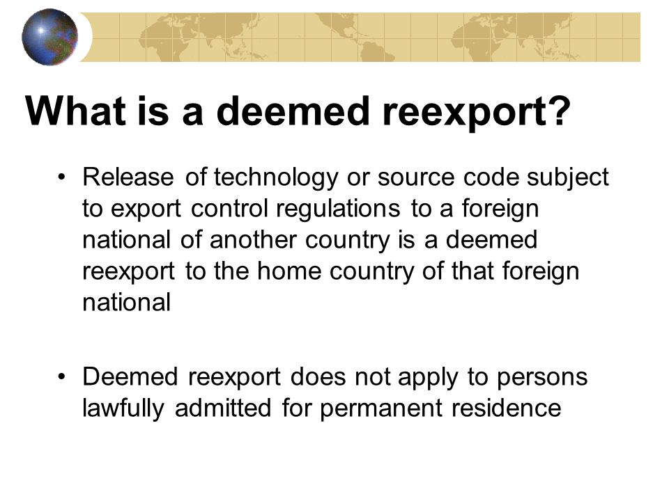 What is a deemed reexport