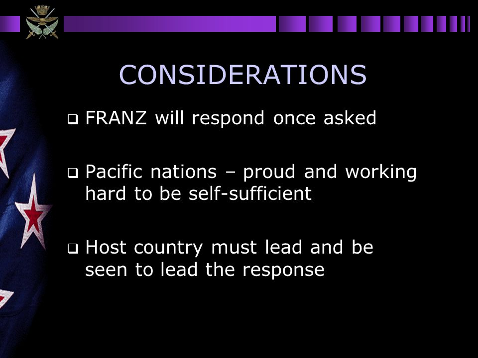 CONSIDERATIONS FRANZ will respond once asked