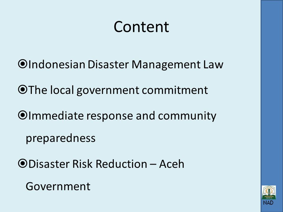 Content Indonesian Disaster Management Law