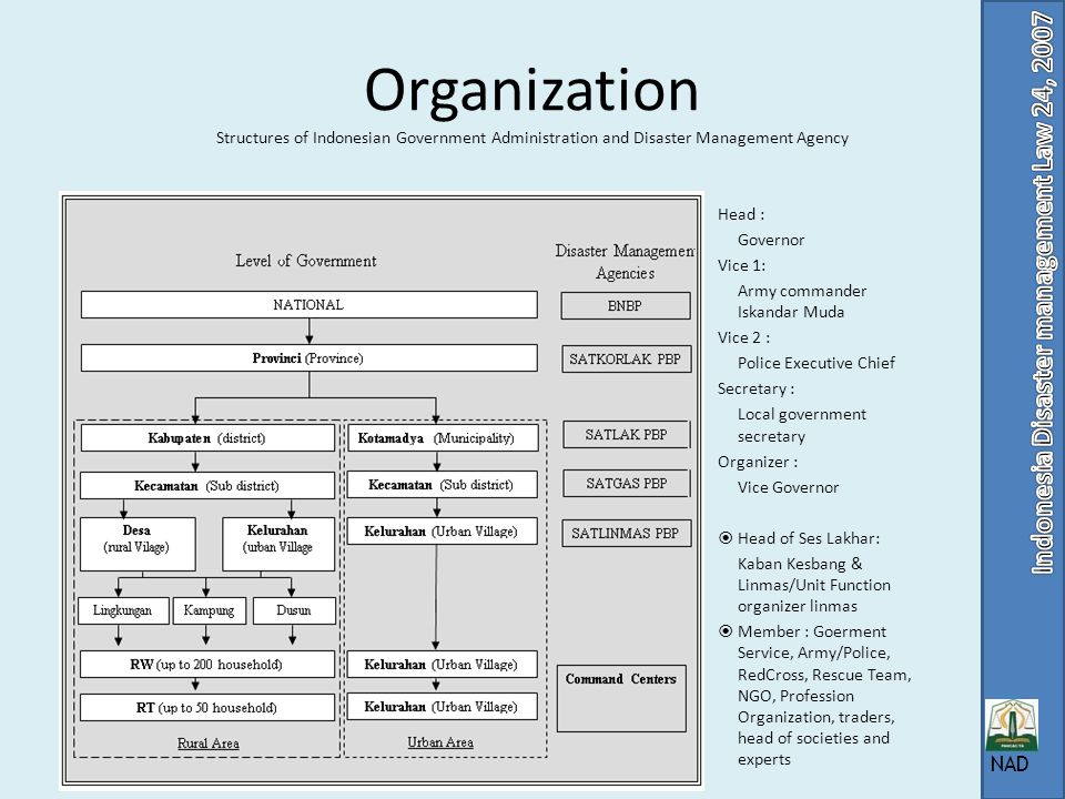 Organization Structures of Indonesian Government Administration and Disaster Management Agency