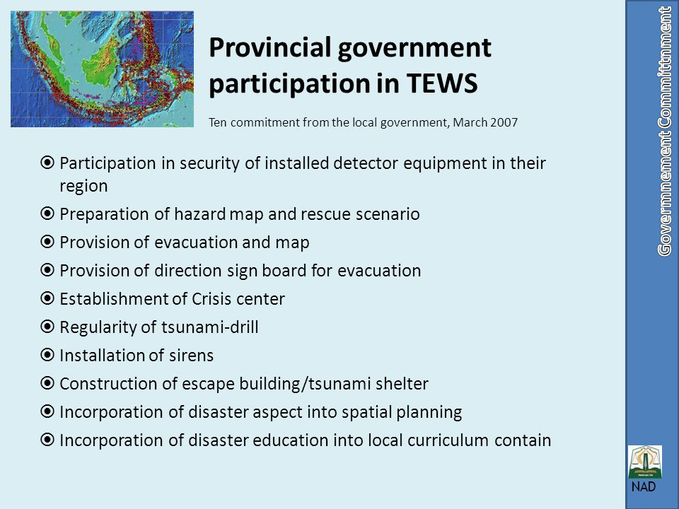 Provincial government participation in TEWS