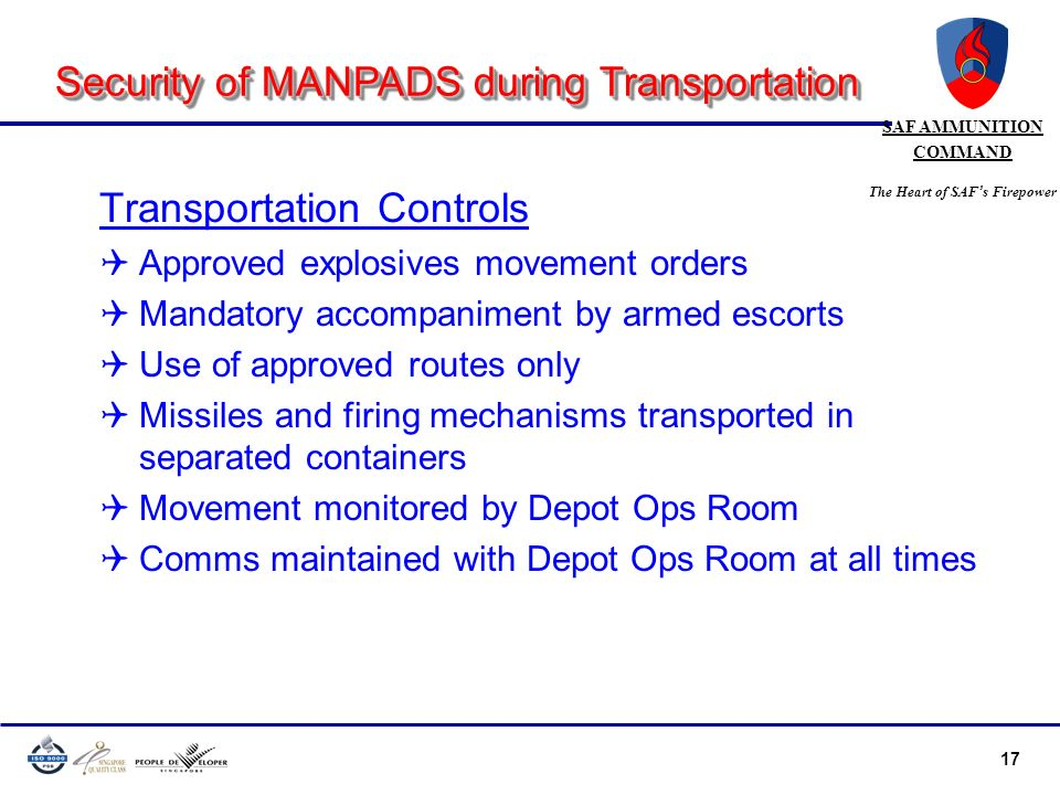 Security of MANPADS during Transportation