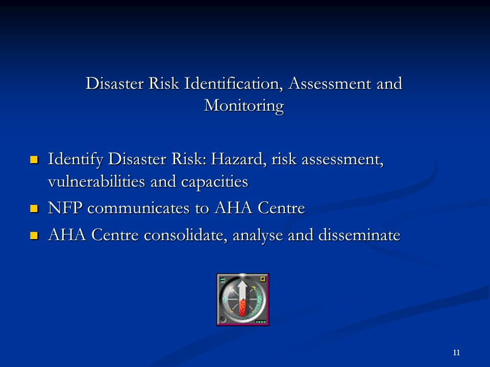 Disaster Risk Identification, Assessment and Monitoring