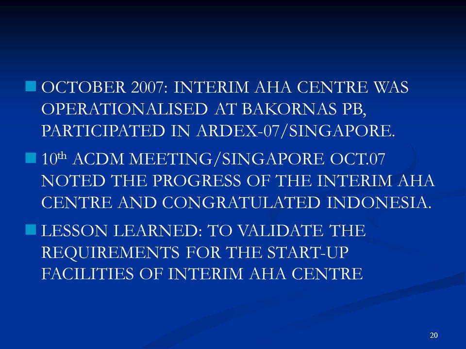 OCTOBER 2007: INTERIM AHA CENTRE WAS OPERATIONALISED AT BAKORNAS PB, PARTICIPATED IN ARDEX-07/SINGAPORE.