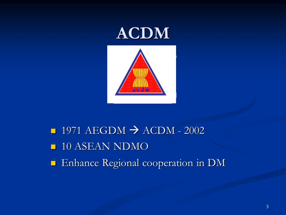 ACDM 1971 AEGDM  ACDM - 2002 10 ASEAN NDMO