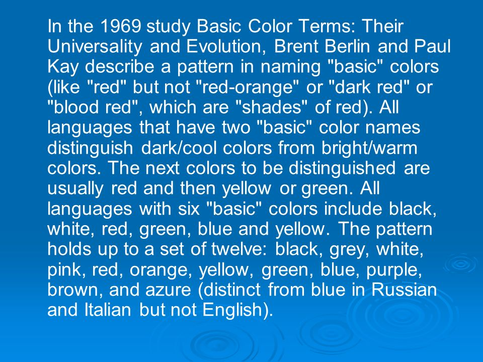 in the 1969 study basic color terms their universality and evolution brent berlin and - Shades Of Blue And Their Names