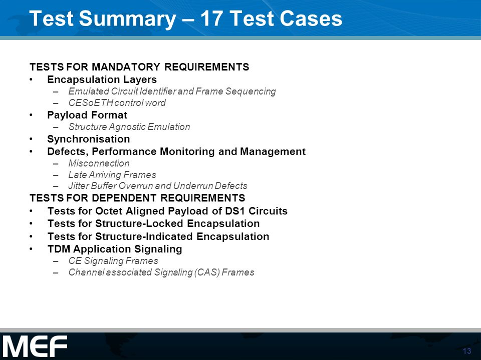 Test Summary – 17 Test Cases