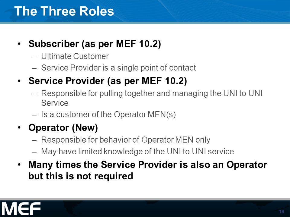 The Three Roles Subscriber (as per MEF 10.2)