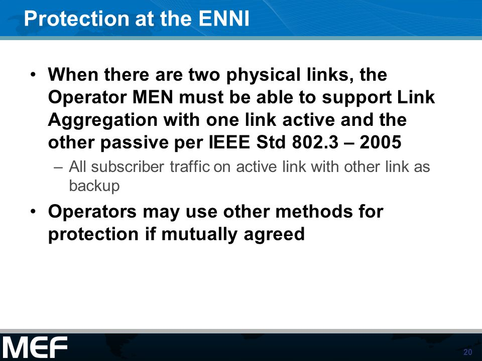 Protection at the ENNI