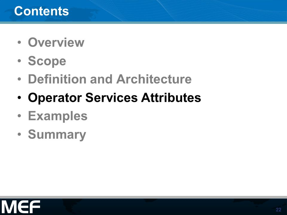 Definition and Architecture Operator Services Attributes Examples