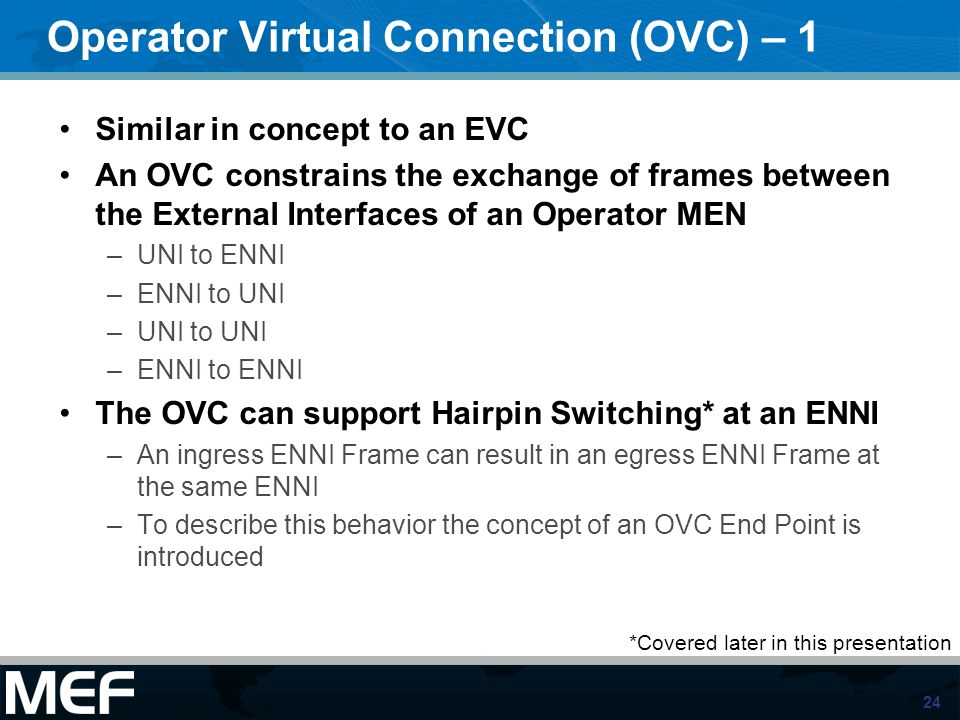 Operator Virtual Connection (OVC) – 1