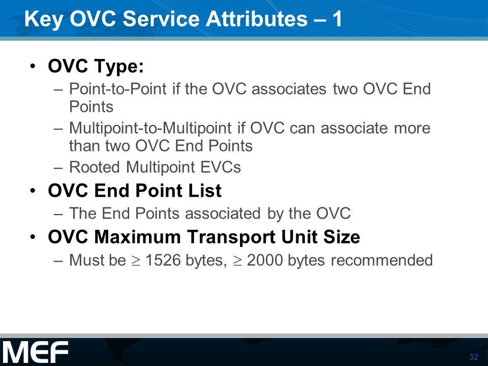 Key OVC Service Attributes – 1