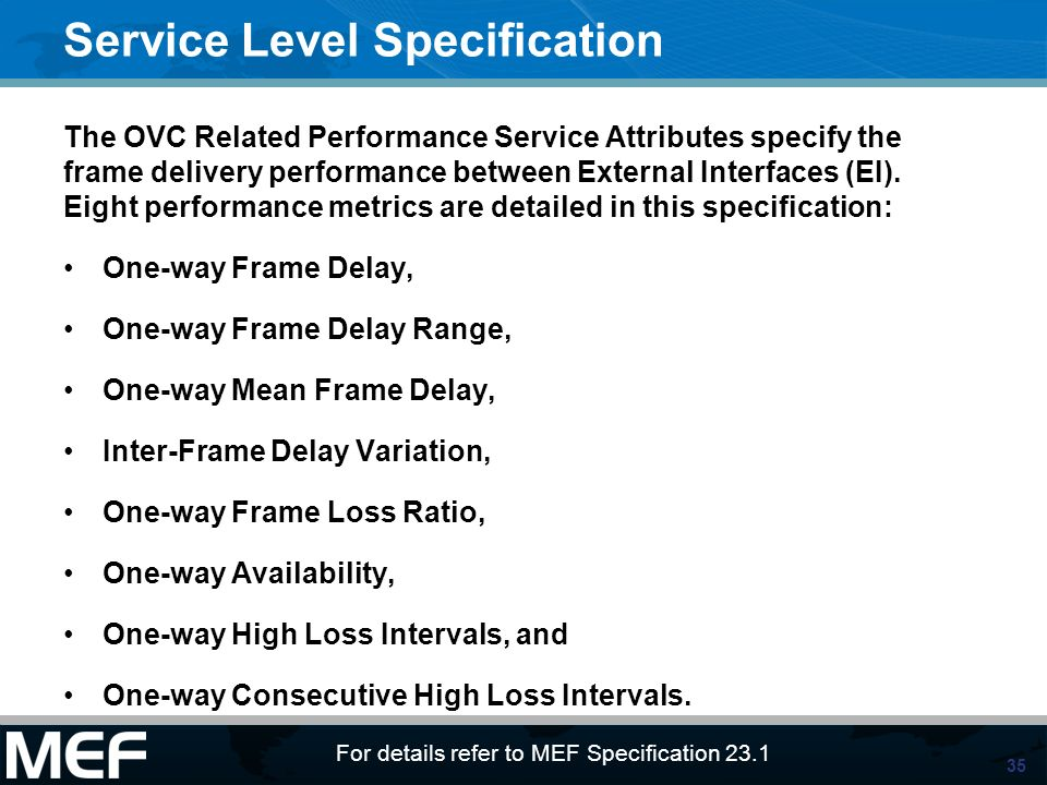 Service Level Specification