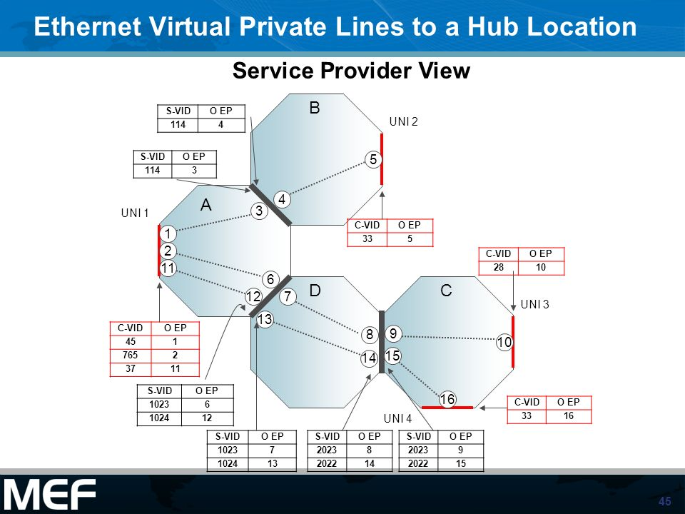 Ethernet Virtual Private Lines to a Hub Location