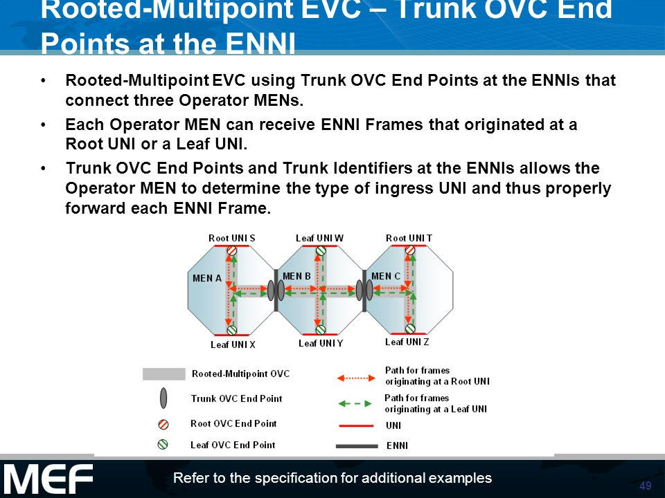 Rooted-Multipoint EVC – Trunk OVC End Points at the ENNI