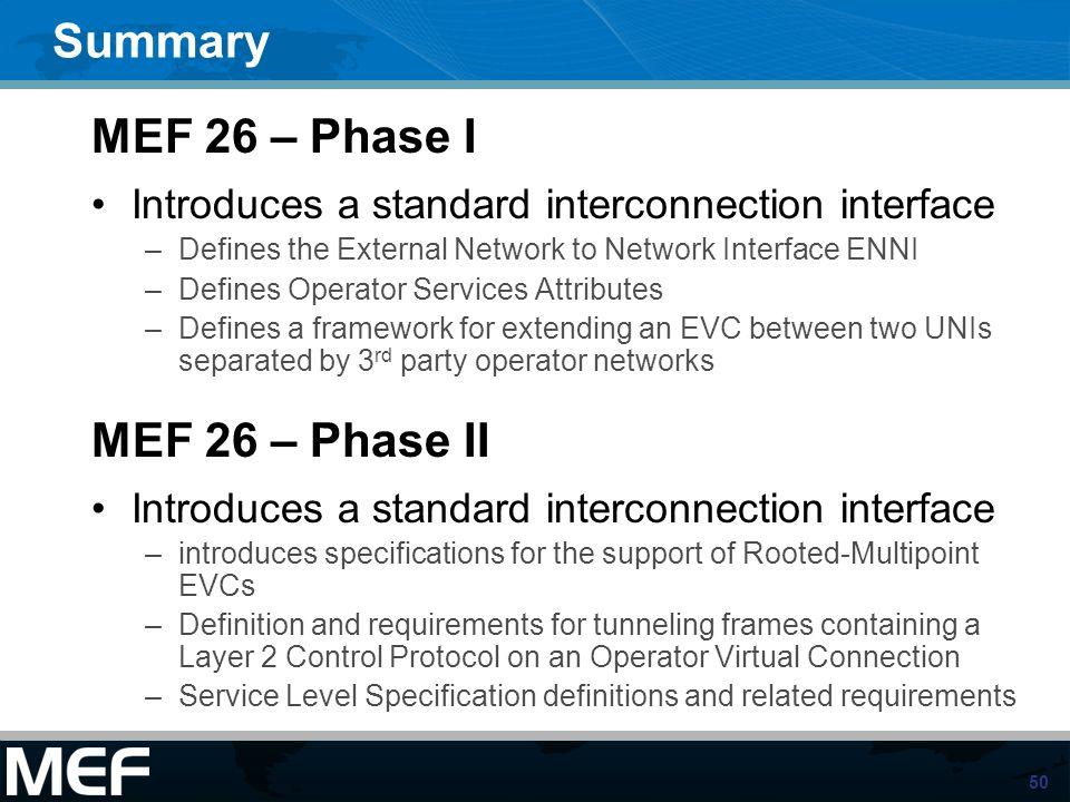 Summary MEF 26 – Phase I MEF 26 – Phase II