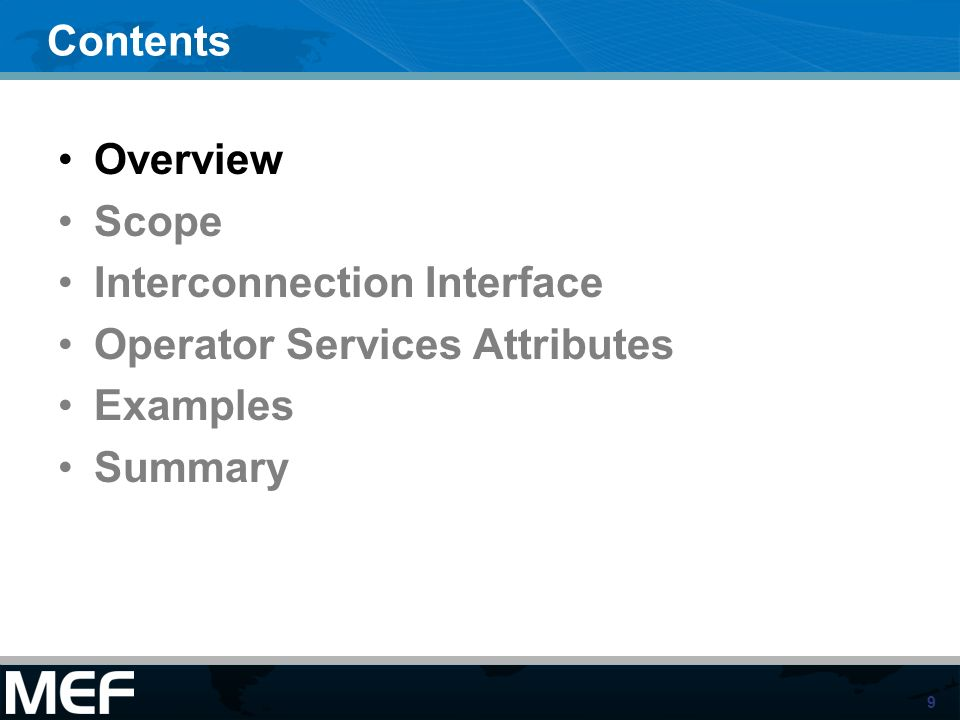 Interconnection Interface Operator Services Attributes Examples