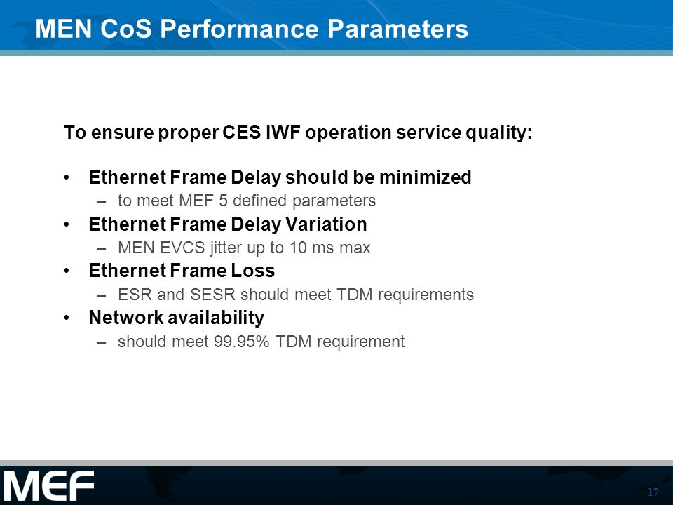 MEN CoS Performance Parameters