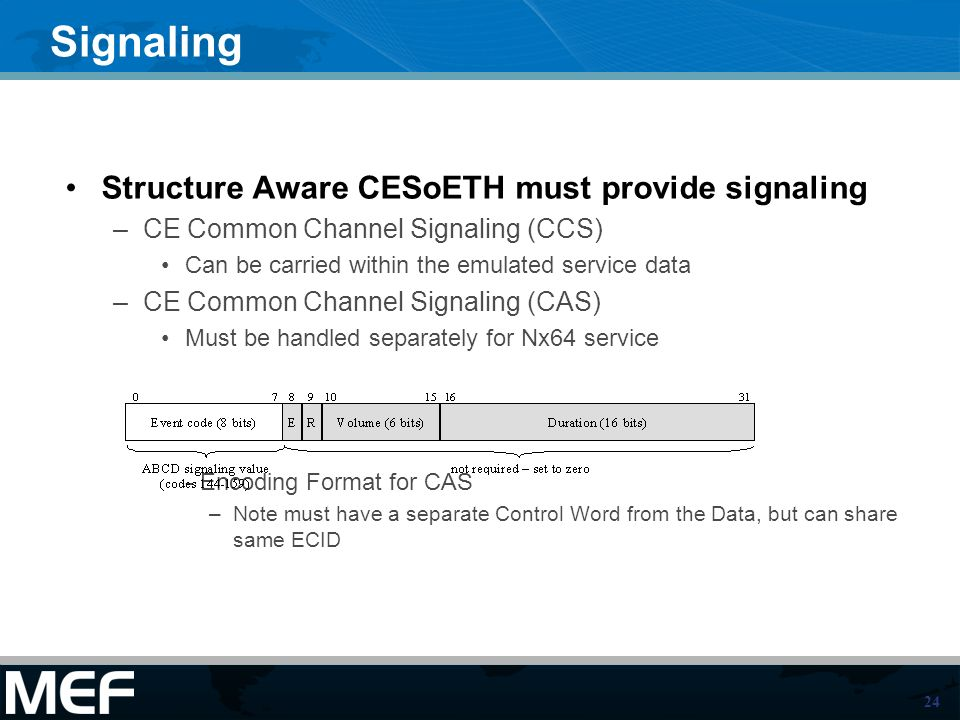 Signaling Structure Aware CESoETH must provide signaling
