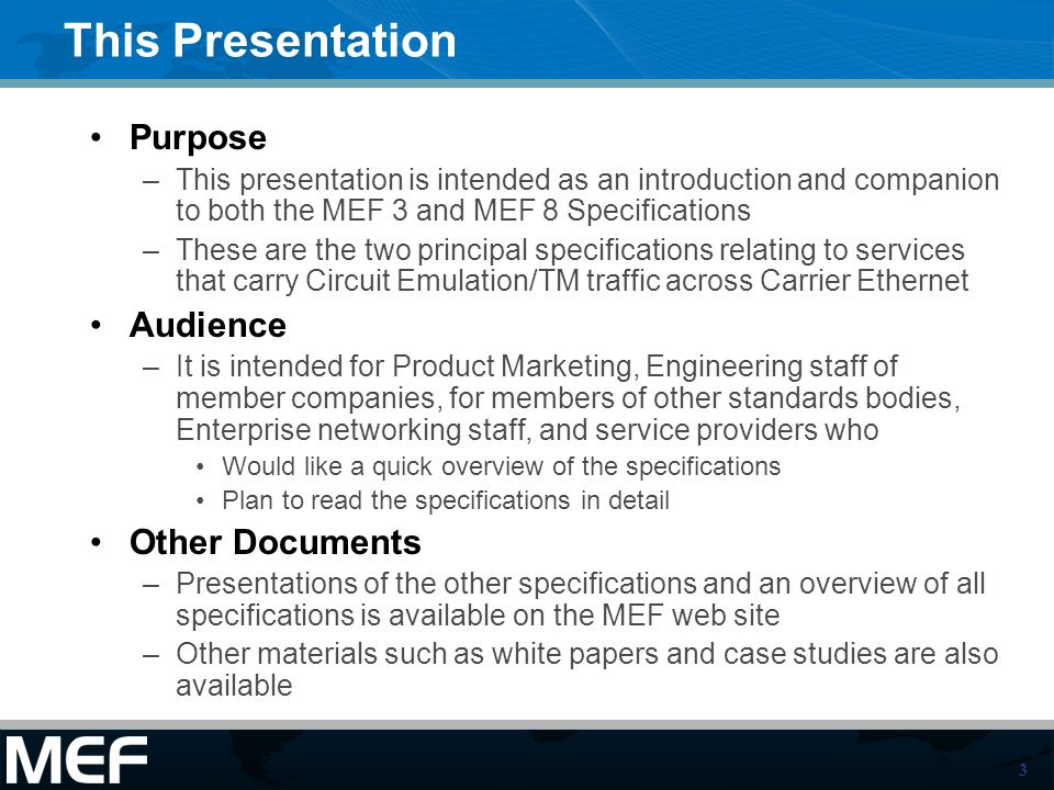 This Presentation Purpose Audience Other Documents