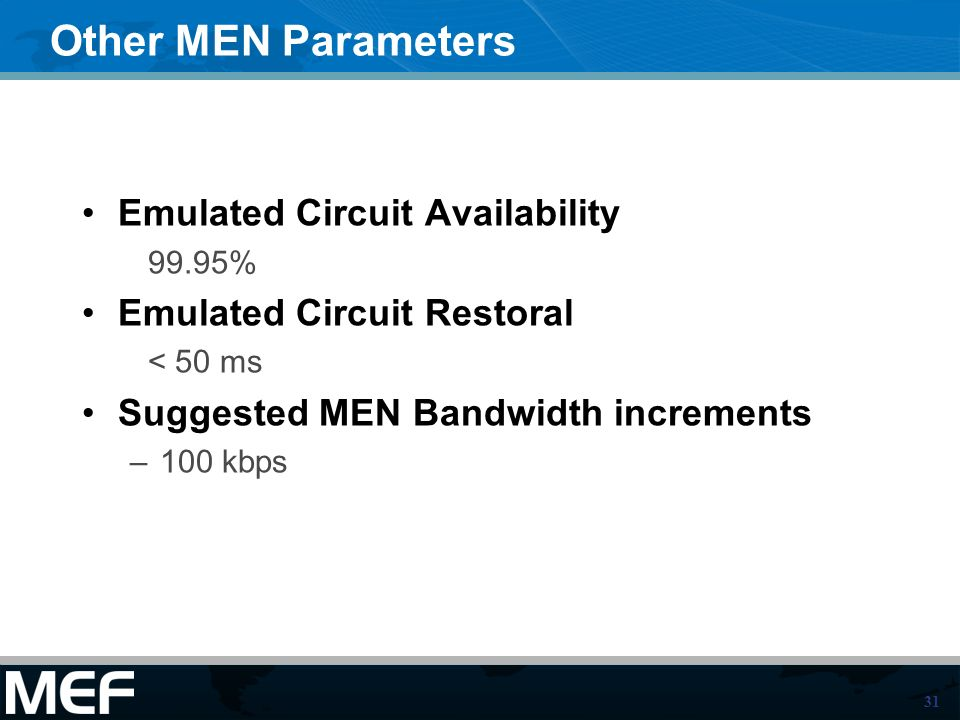 Other MEN Parameters Emulated Circuit Availability