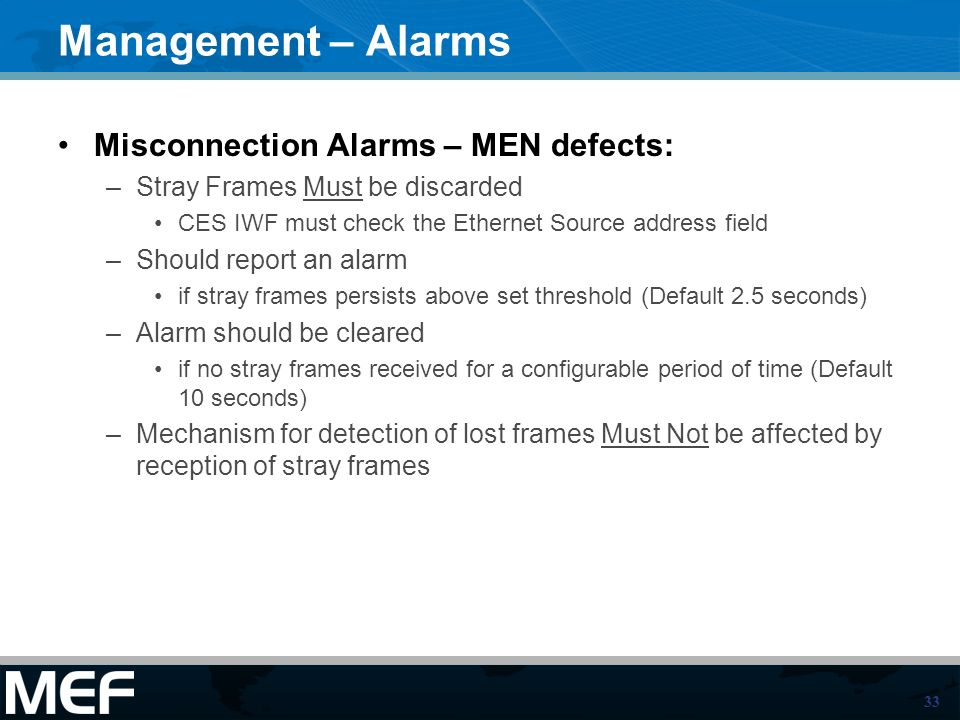 Management – Alarms Misconnection Alarms – MEN defects: