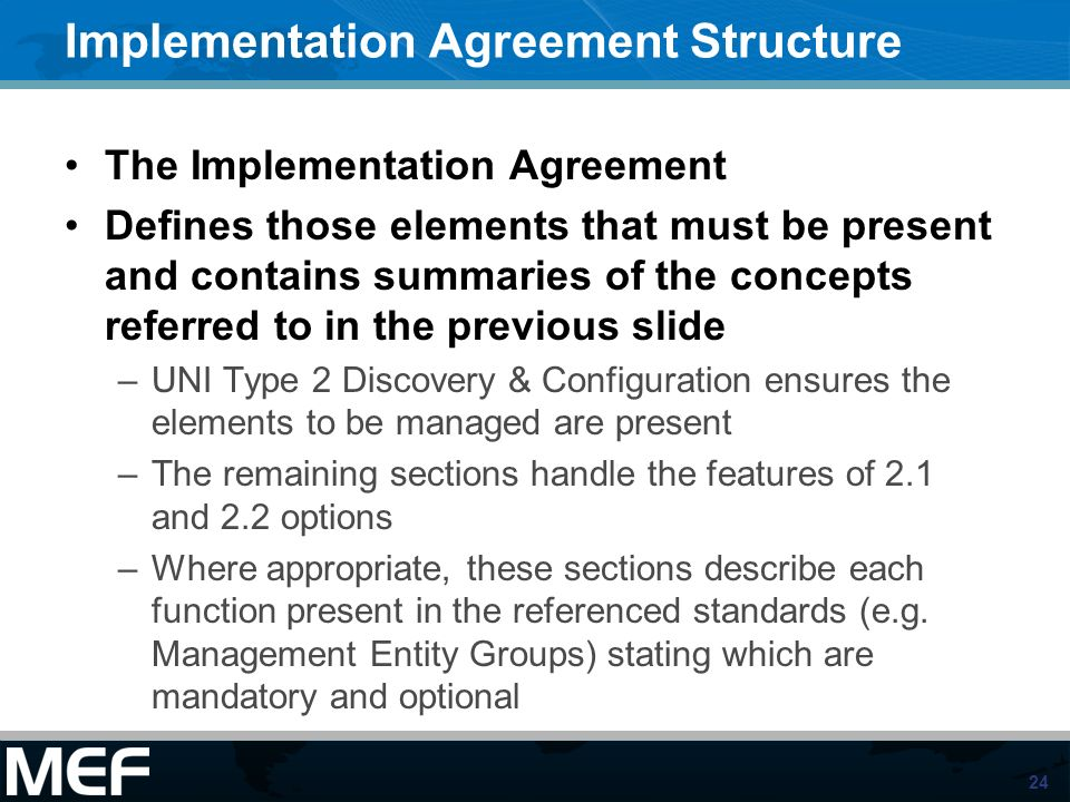 Implementation Agreement Structure