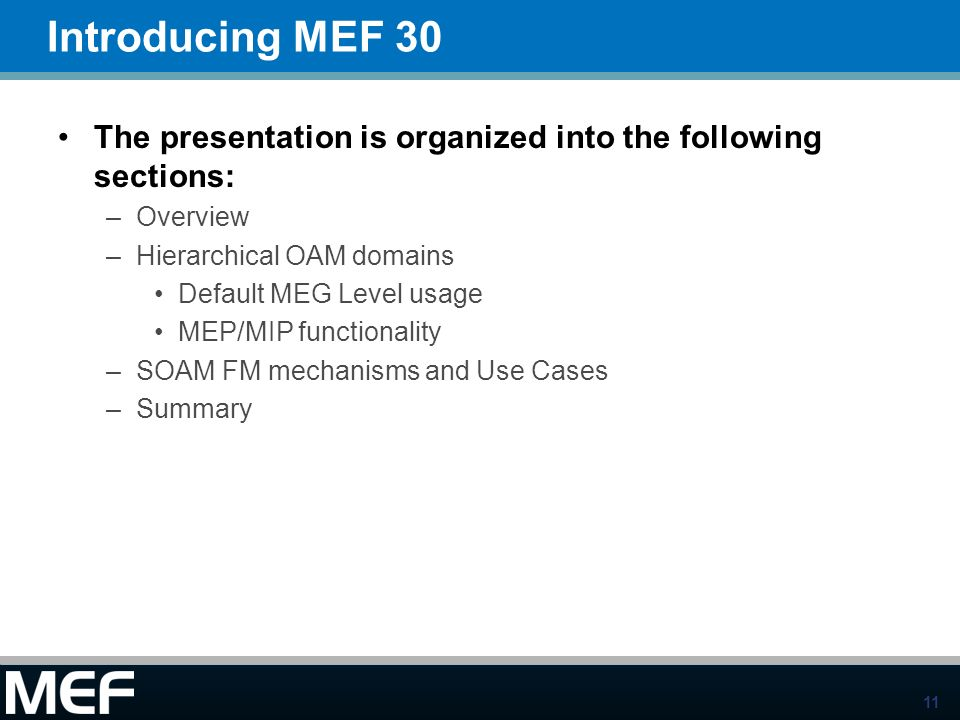 Introducing MEF 30 The presentation is organized into the following sections: Overview. Hierarchical OAM domains.