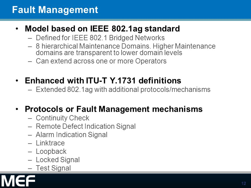 Fault Management Model based on IEEE 802.1ag standard
